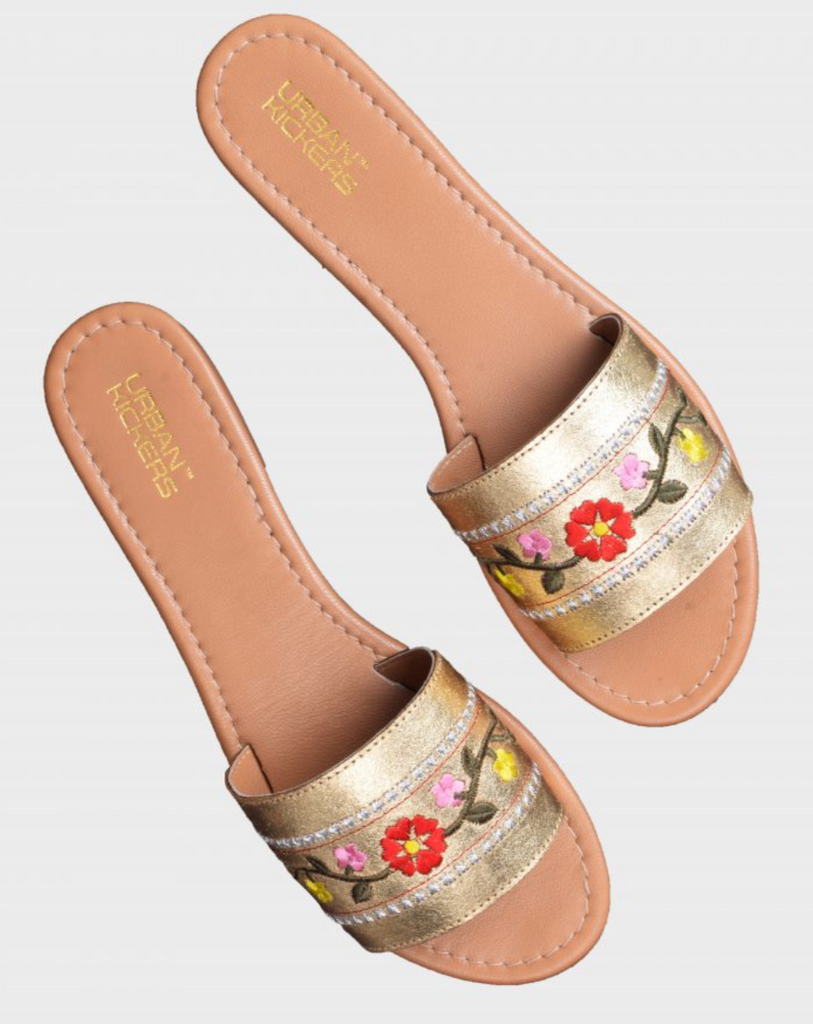 Threaded Flower Leather Strap Flats-Accessories-URBAN KICKERS-6degree.store