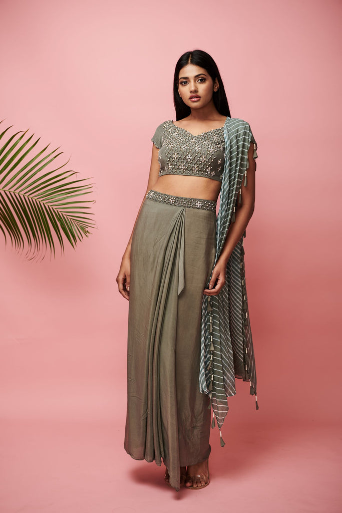 Grey Skirt Blouse with Dupatta-Pret-ANVITA JAIN-6degree.store