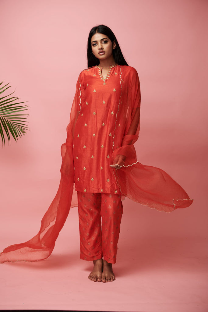 Orange Short Kurta and Pants Set-Pret-ANVITA JAIN-6degree.store