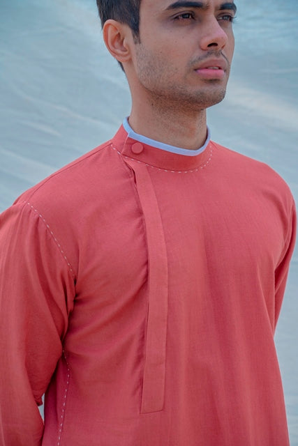 Cotton X Linen Coral-Mens Kurta-BOHAME-6degree.store