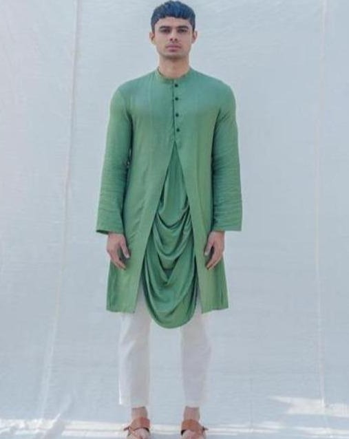 Cotton X Rayon Green Cowl Kurta-Mens Kurta-BOHAME-6degree.store