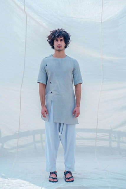 Cotton X Linen Slay in Grey Kurta-Mens Kurta-BOHAME-6degree.store