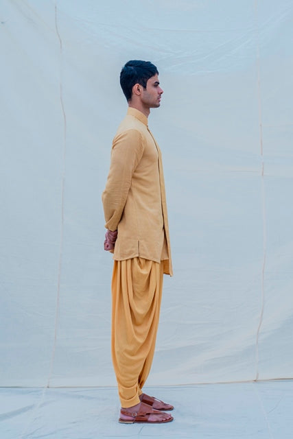 Cotton X Beige Gold Kurta-Mens Kurta-BOHAME-6degree.store