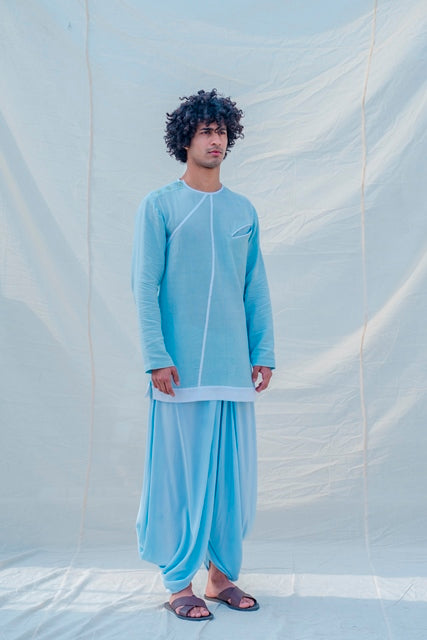 Cotton X Linen Drenched in Aqua Kurta-Mens Kurta-BOHAME-6degree.store