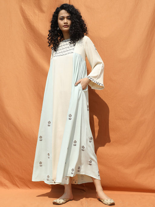 Off White and Mint Green Essaouira Maxi Dress-Dresses-BOHAME-6degree.store