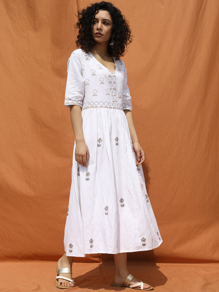 White Summer DayOut Dress-Dress-BOHAME-6degree.store