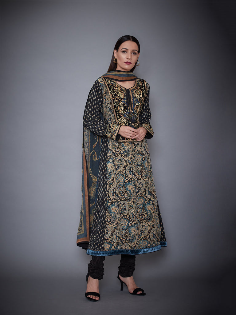 Black & Beige Jamawar Kurta With Churidar & Dupatta-Kurta Set-RI Ritu Kumar-6degree.store