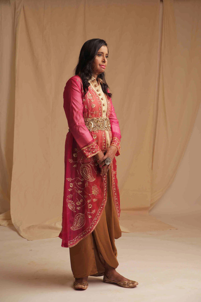 Red and Pink Hand Embroidered Jacket-Jackets-MEGHA BANSAL-6degree.store