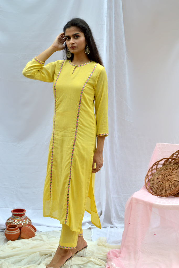Yellow princess cut kurta-Kurta-TASHEE-6degree.store