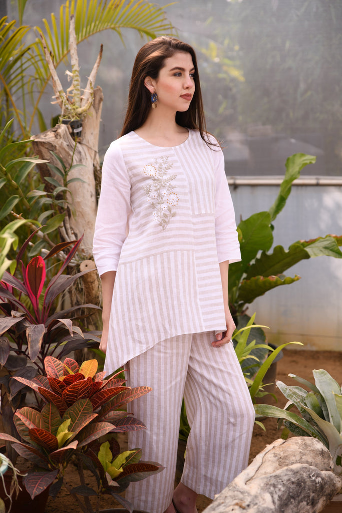 Beige stripe tunic-Tunic-LINEN BLOOM-6degree.store