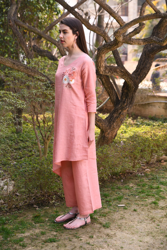 Salmon wide pants-Pants-LINEN BLOOM-6degree.store