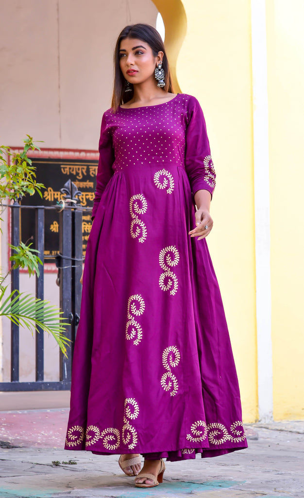 Purple Jaam Silk Gown-Gown-CHOKHI BANDHANI-6degree.store