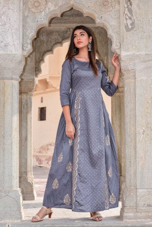 Grey Block Printed Silk Gown-Gown-CHOKHI BANDHANI-6degree.store