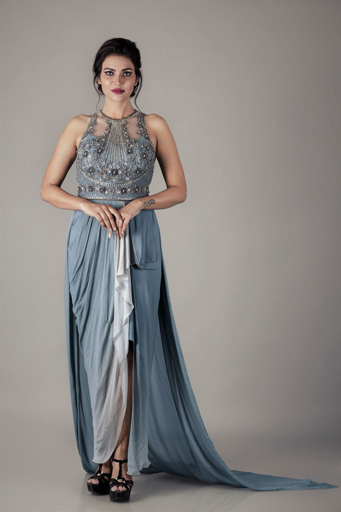 Grey Ombre Drape Outfit-Dress-NAFFS-6degree.store