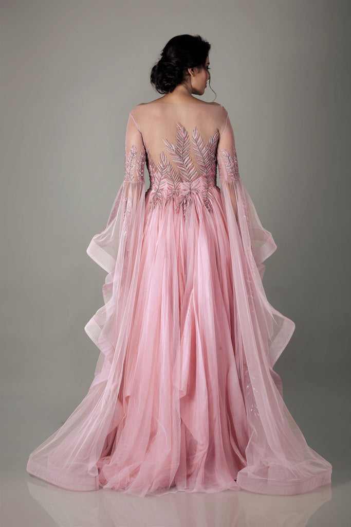 Old Rose Feather Embroidered Gown with Ruffled Sleeves-Gown-NAFFS-6degree.store