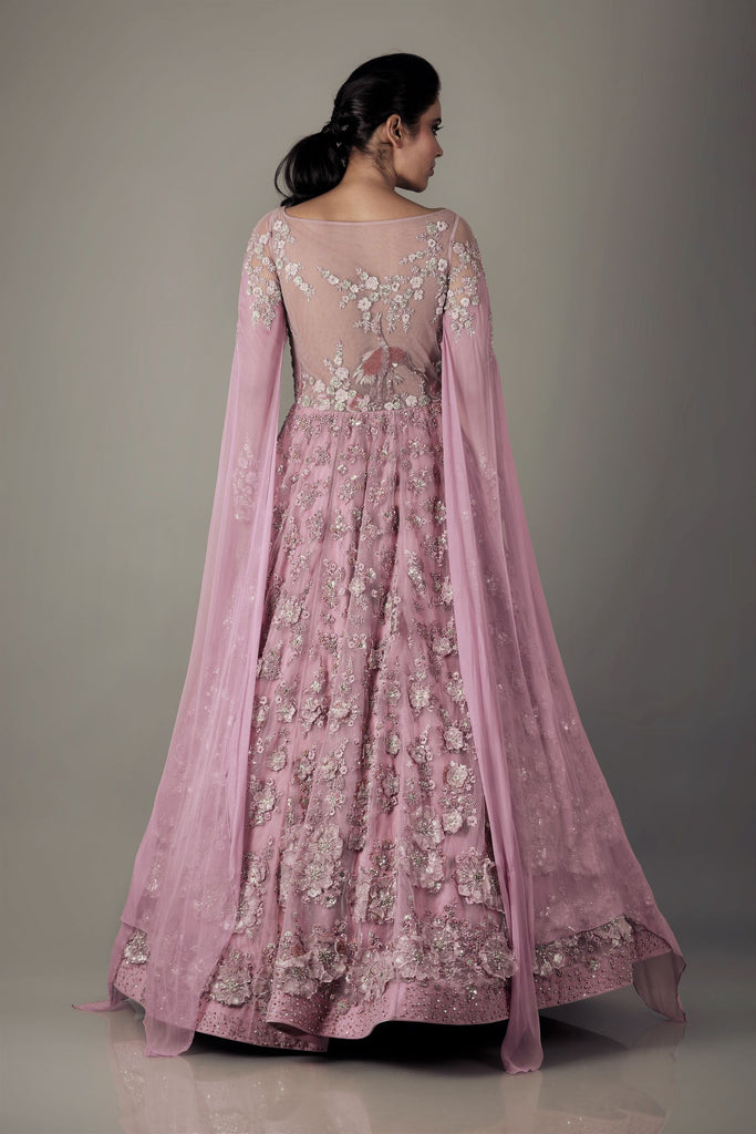 Old Rose Floor length Anarkali.-Anarkali Set-NAFFS-6degree.store