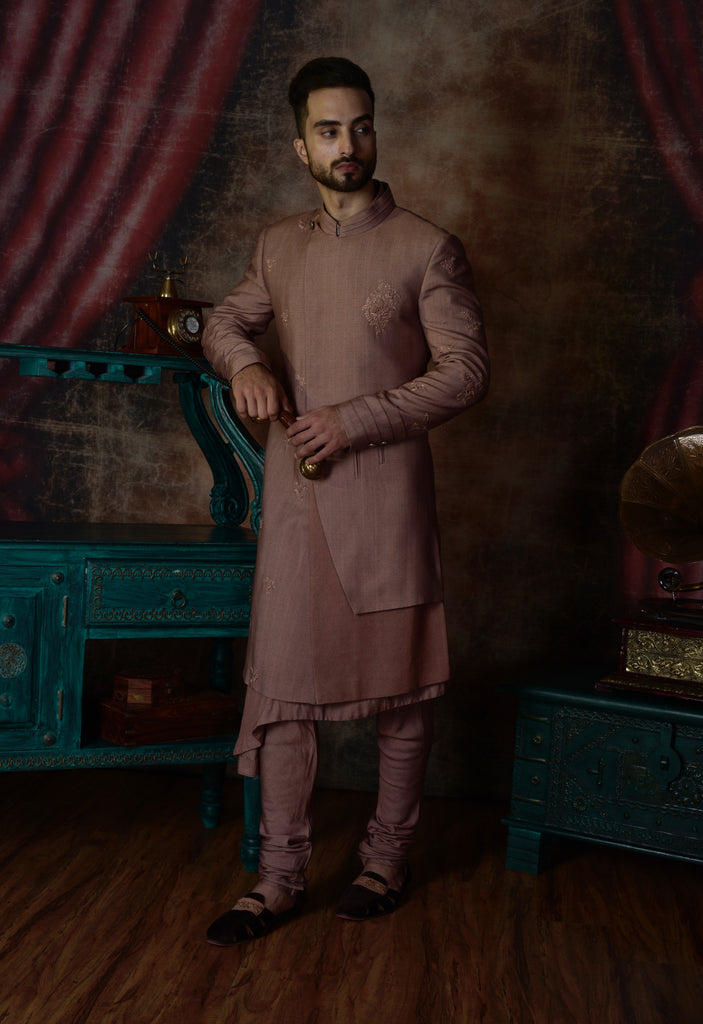 Dusty Mauve Achkan with trouser-Mens Kurta-JATIN MALIK-6degree.store
