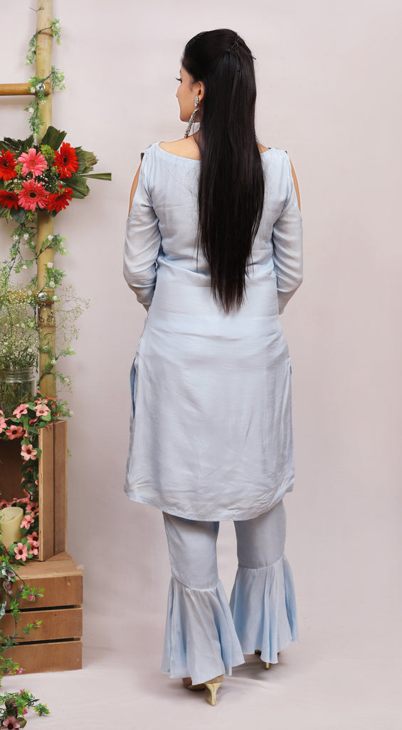 Baby Blue Straight Kurti with Peplum Pants.-Kurti-AYUSHI MANGAL-6degree.store