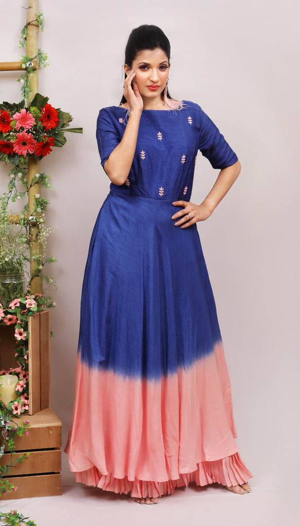 Classic Blue Double Dye Floor Length Kurti Dress-Dress-AYUSHI MANGAL-6degree.store