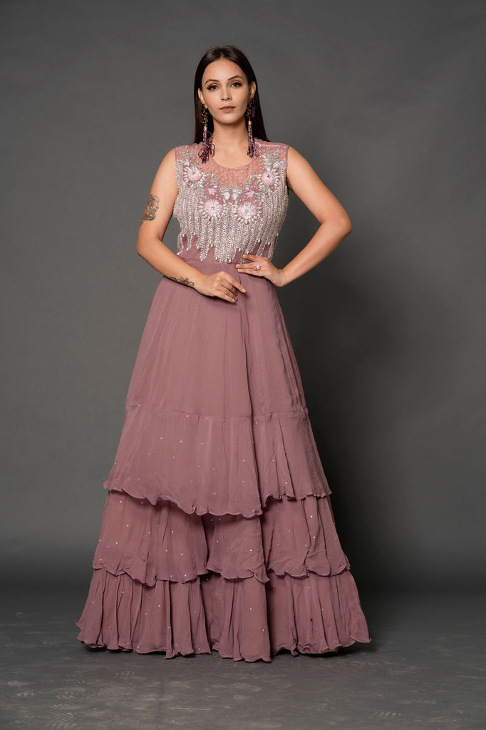 Onion-Pink sleeveless Gown-Gown-NILOUFER BY AASIF ALLY-6degree.store