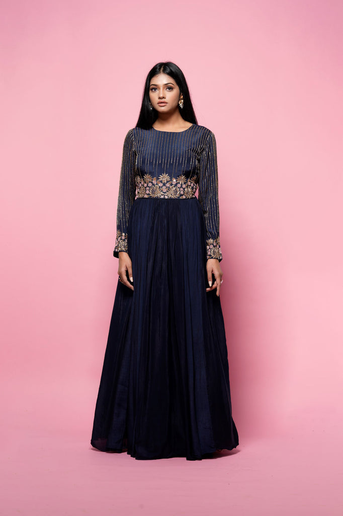 Navy blue full sleeve gown-Indian Wear-NILOUFER BY AASIF ALLY-6degree.store