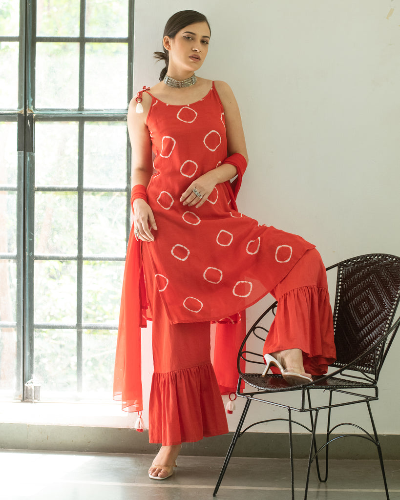 Red Yatika Kurta-Sharara Set-Sharara Set-GULAAL-6degree.store