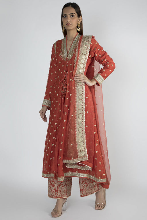 Meera Jacket style Red Kurta with palazzo & dupatta-Palazzo Set-Gopi Vaid-6degree.store