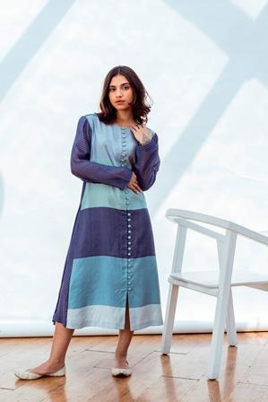 Navy Grace Side Pleated Dress/Kurta-Dress-NESOLO-6degree.store