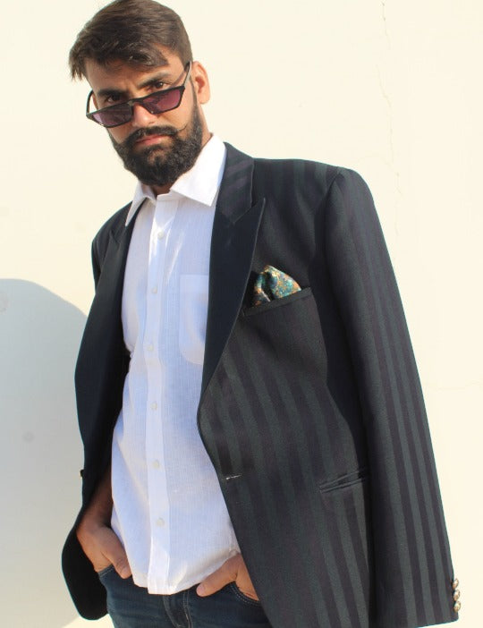 Striped Mulberry Blazer-Mens Jacket-RNG SAFAWALA-6degree.store