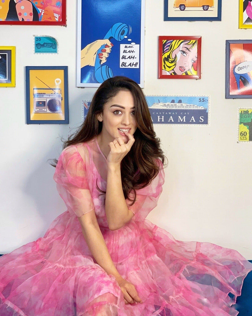 Sandeepa Dhar | Pink Bucket Dye Silk Organza Dress-Blouse-Siddhartha Bansal-6degree.store