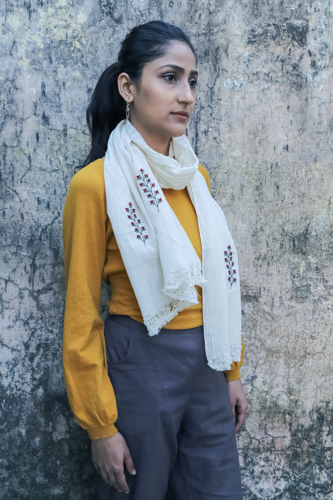 White kala cotton & hand embroidered scarf-Accessories-KAVANA-6degree.store