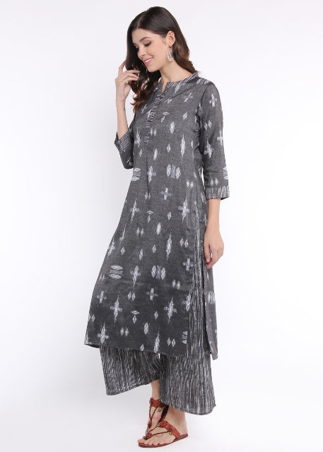 Monochrome Ikat Print Kurta and Palazzo Set-Palazzo Set-HALF FULL HALF EMPTY-6degree.store