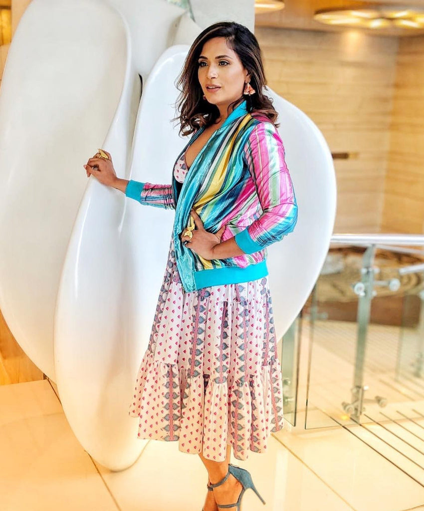 Richa Chadha | Blue Stripe Silver Lurix Short Jacket-Jackets-Siddhartha Bansal-6degree.store