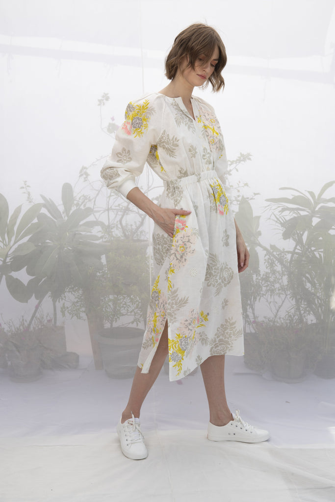 Ivory Roses Print Dress-Dress-ARCVSH by Pallavi Singh-6degree.store