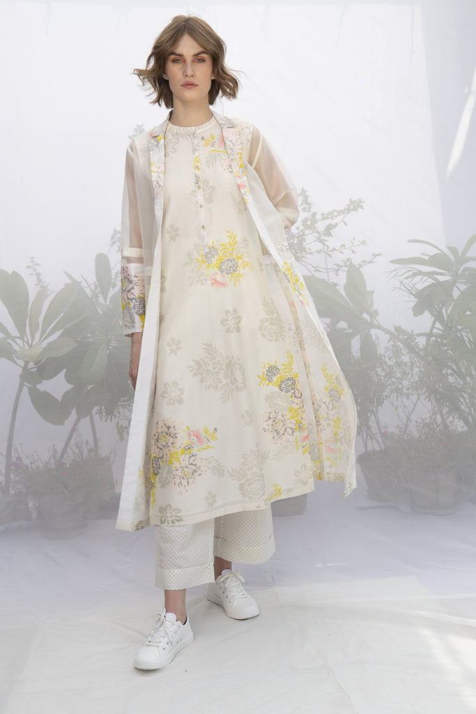 Ivory Roses Print Tunic With Jacket And Pants-Tunic-ARCVSH by Pallavi Singh-6degree.store