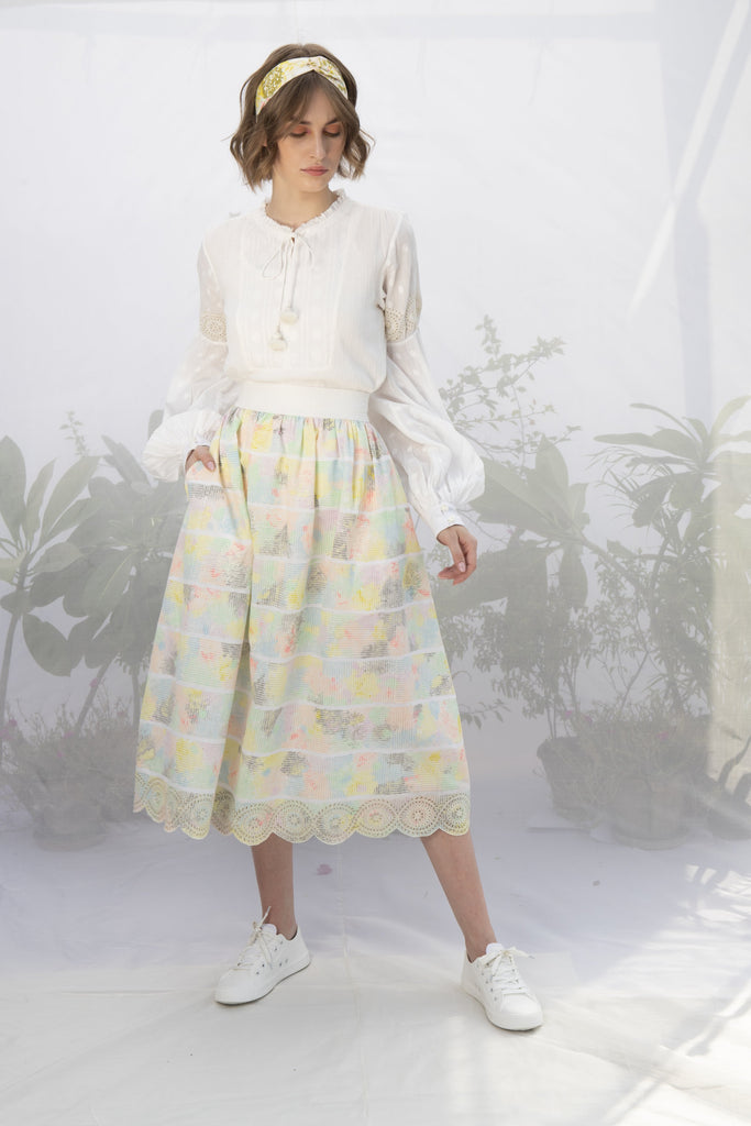 Ivory White Textured Cotton Top With Hand Block Printed Skirt-Co-ords-ARCVSH by Pallavi Singh-6degree.store
