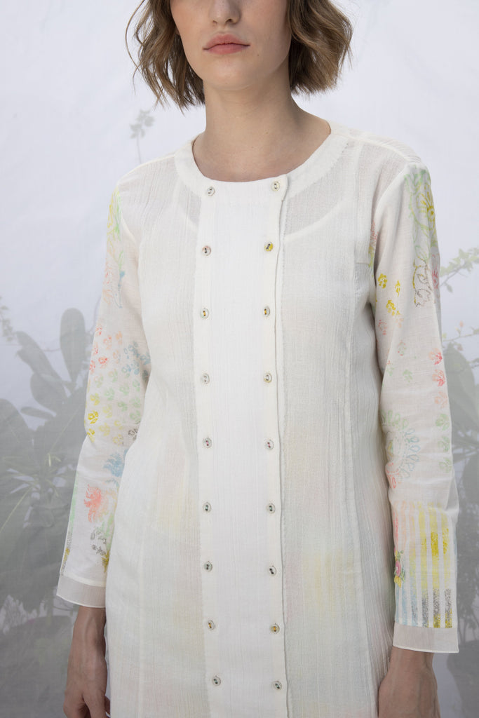Ivory Printed Sleeve Tunic With Multi Stripe Pants-Tunic-ARCVSH by Pallavi Singh-6degree.store