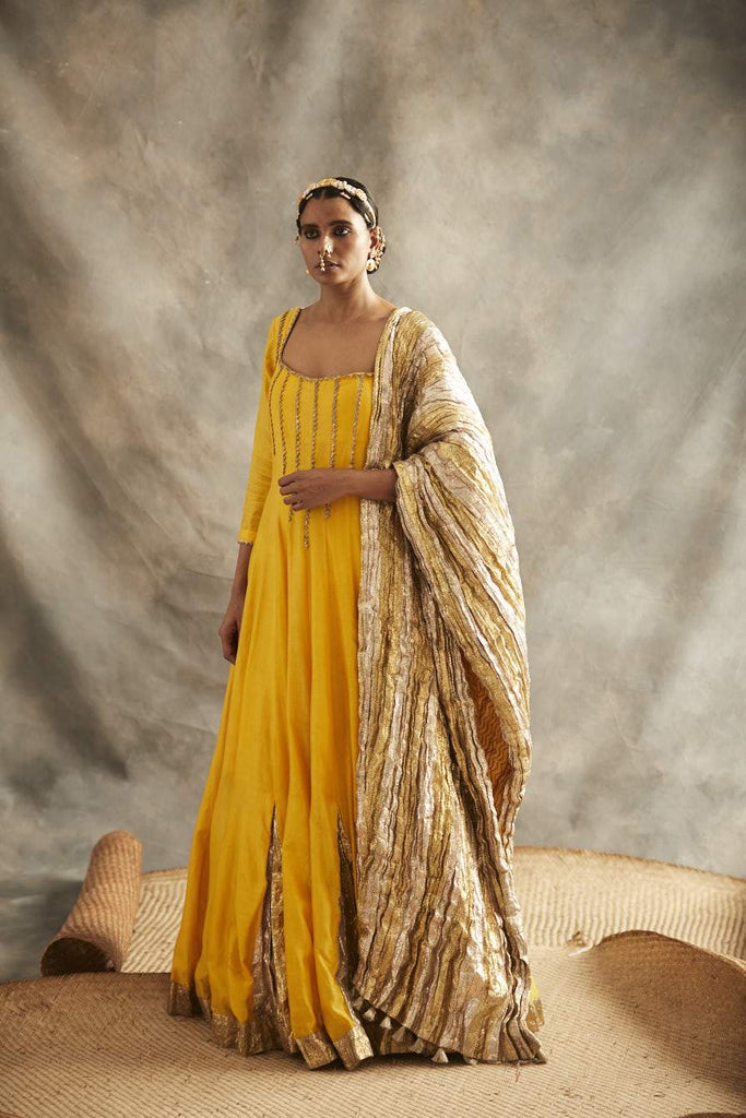 Yellow Anarkali Set-Anarkali Set-ITRH-6degree.store