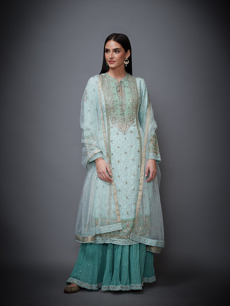 Aqua Round Neck Full Sleeves Kurta With Dupatta & Skirt-Kurta Set-RI Ritu Kumar-6degree.store