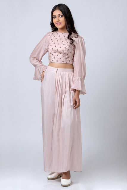 Puff Sleeve Blouse And Unilateral Pleated Pant-Co-ord-KAJAL AGARWAL-6degree.store