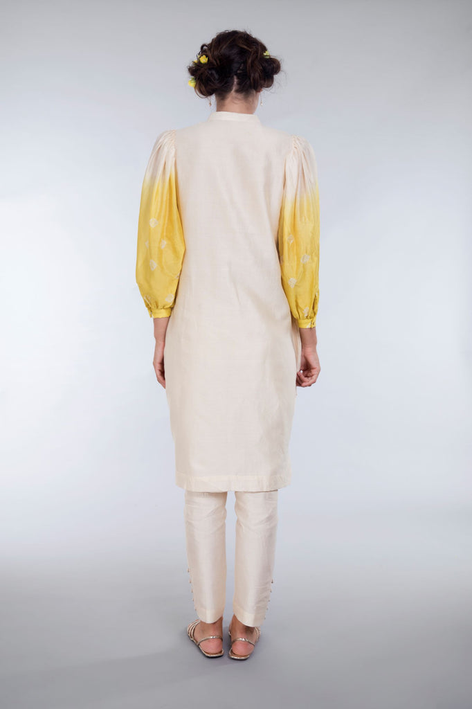 Ivory tie & dye kurta and pants-Kurta Set-LEELA BY A-6degree.store
