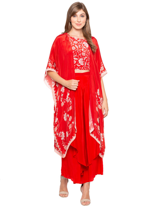Red Crop top with Pants and Cape-SOUP BY SOUGAT PAUL-6degree.store