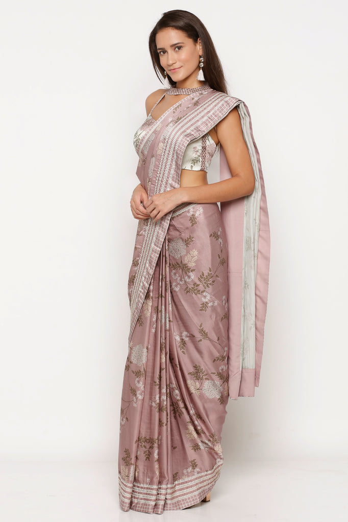 Saree and blouse mellow rose-Saree-SOUP BY SOUGAT PAUL-6degree.store