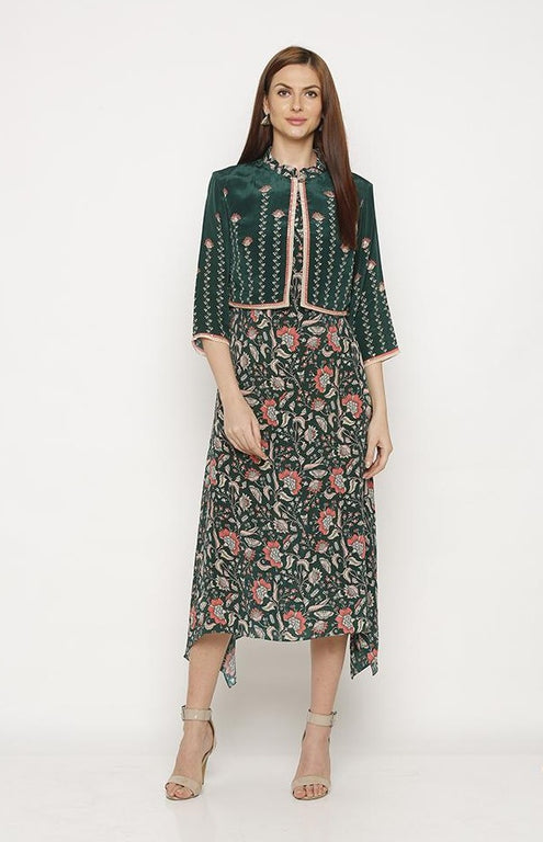 Green Printed Dress with Jacket-Dresses-SOUP BY SOUGAT PAUL-6degree.store