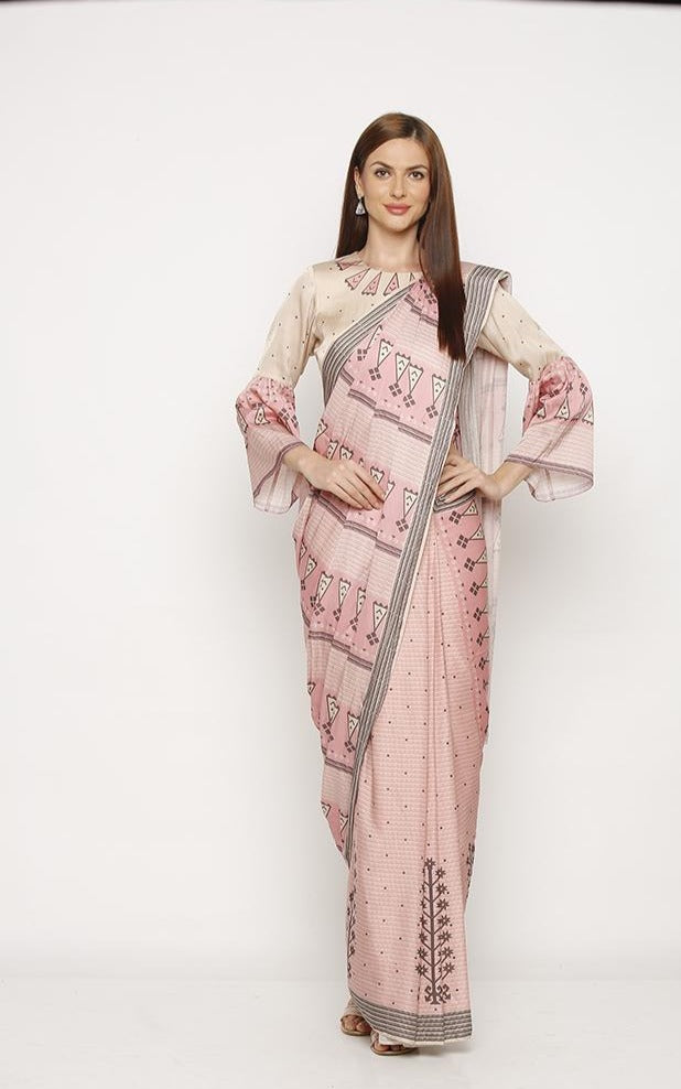 Powder pink Blouse and saree-Saree-SOUP BY SOUGAT PAUL-6degree.store