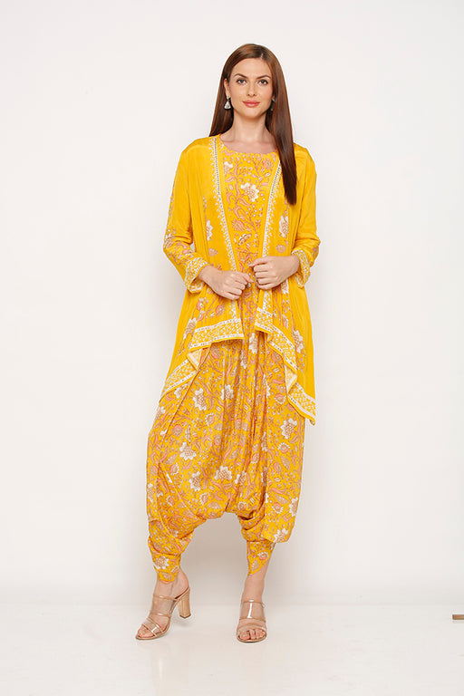 Yellow Jumpsuit with Embellished Jacket-Jumpsuits-SOUP BY SOUGAT PAUL-6degree.store