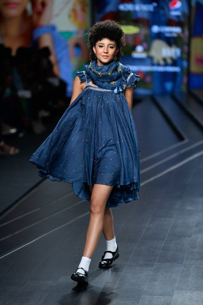 Navy Frilled Short Dress-Dress-GAZAL MISHRA-6degree.store