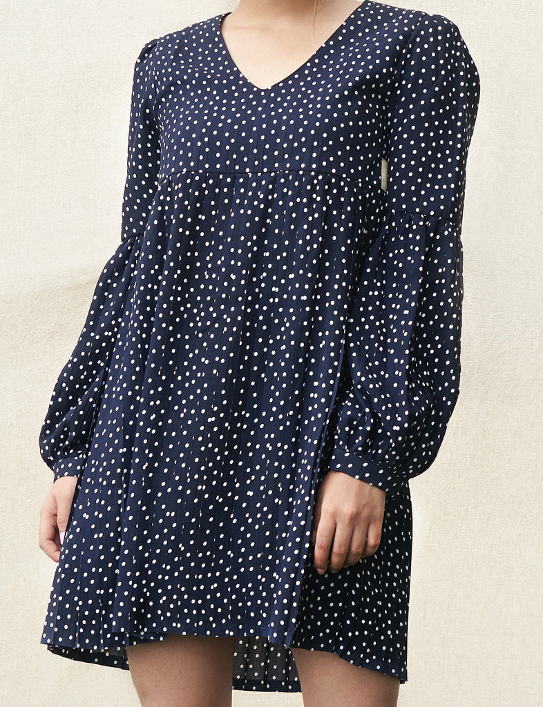 Blue And White Polka Dot Pleated Dress-Dress-URBAN SUBURBAN-6degree.store