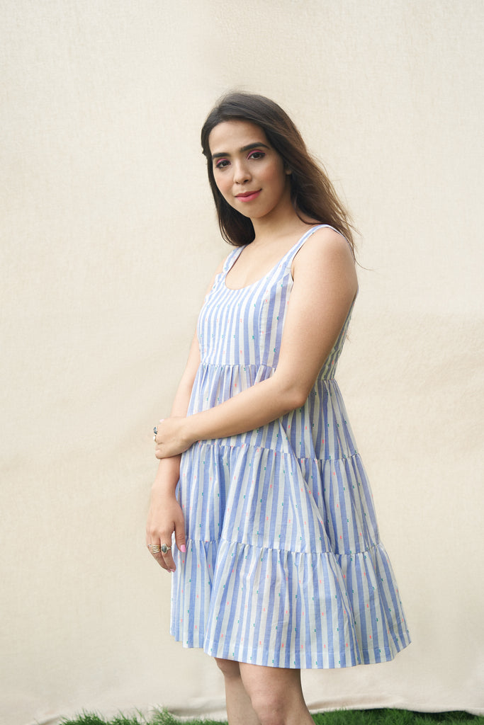 Blue And White Striped Dress-Dress-URBAN SUBURBAN-6degree.store