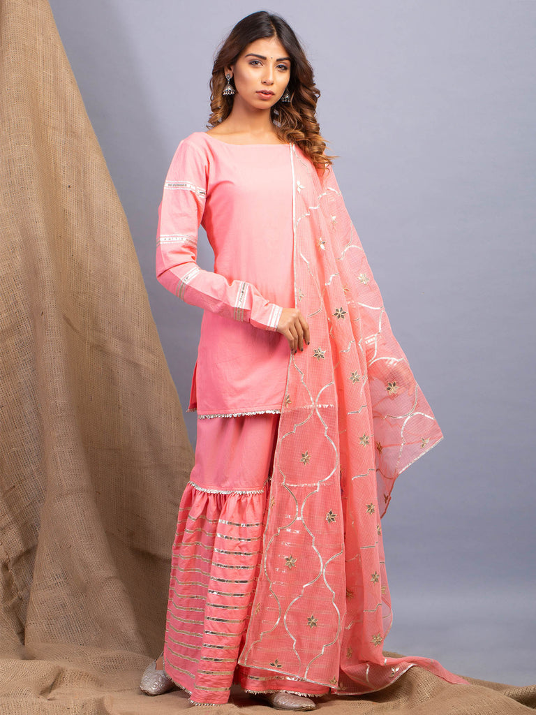 Umrao Peach Sharara Set-Sharara Set-MAISON SHEFALI-6degree.store